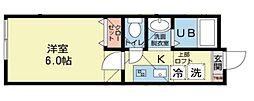 神奈川県川崎市中原区市ノ坪の賃貸アパートの間取り