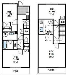 [テラスハウス] 神奈川県横浜市青葉区青葉台2丁目 の賃貸【/】の間取り