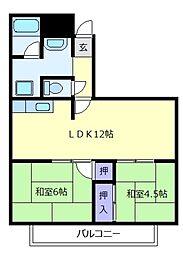 松ヶ丘芙蓉ハイツ[4階]の間取り
