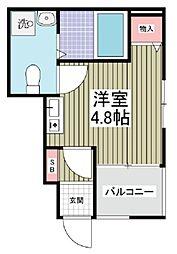 JR川越線 的場駅 徒歩10分の賃貸アパート 1階ワンルームの間取り