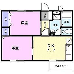 愛知県豊川市美園3丁目の賃貸アパートの間取り