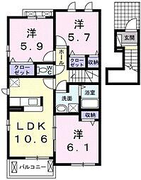 愛知県みよし市黒笹町寺山の賃貸アパートの間取り