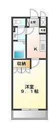 南海高野線 北野田駅 徒歩37分の賃貸アパート 2階1Kの間取り