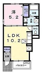 東武東上線 朝霞駅 徒歩23分の賃貸アパート 1階1LDKの間取り