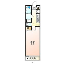 リブリ・竹島 3階1Kの間取り