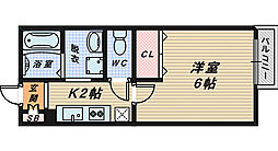 大阪府堺市堺区中向陽町1丁の賃貸アパートの間取り