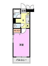 ベロウ桜城 3階1Kの間取り
