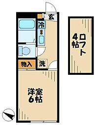 京王相模原線 京王永山駅 徒歩10分の賃貸アパート 2階1Kの間取り