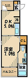 JR南武線 谷保駅 徒歩10分の賃貸アパート 1階1DKの間取り