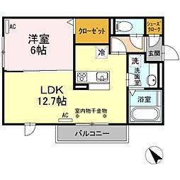 レセンテ上野 A[3階]の間取り