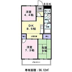 フォンテーヌ 2階3DKの間取り