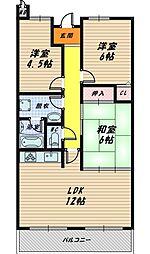 大阪府大阪市城東区今福東3丁目の賃貸マンションの間取り