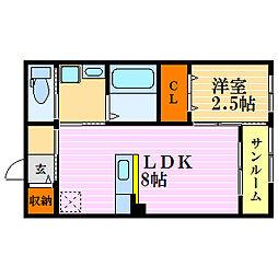 滋賀県長浜市八幡中山町の賃貸アパートの間取り