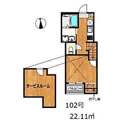 六本松555 1階ワンルームの間取り
