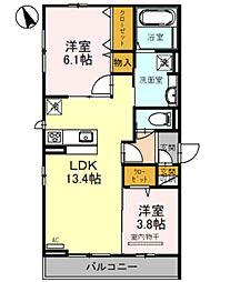 仮称・D-room堺市北区百舌鳥西之町 2階2LDKの間取り