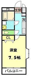 JR中央線 西八王子駅 徒歩20分の賃貸マンション 2階1Kの間取り