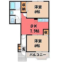 栃木県塩谷郡高根沢町宝石台1丁目の賃貸アパートの間取り