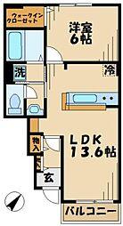 ディアコートベル 1階1LDKの間取り