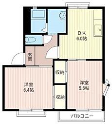 東京都東大和市高木2丁目の賃貸アパートの間取り