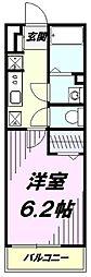 JR中央線 国立駅 徒歩17分の賃貸アパート 2階1Kの間取り