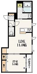 東京メトロ南北線 志茂駅 徒歩10分の賃貸マンション 2階1LDKの間取り