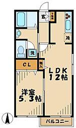 神奈川県川崎市麻生区古沢の賃貸アパートの間取り