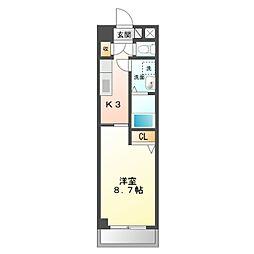 名鉄名古屋本線 矢作橋駅 徒歩32分の賃貸マンション 6階1Kの間取り