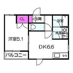 近鉄南大阪線 北田辺駅 徒歩3分の賃貸マンション 1階1DKの間取り