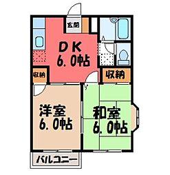 栃木県小山市城北1丁目の賃貸アパートの間取り