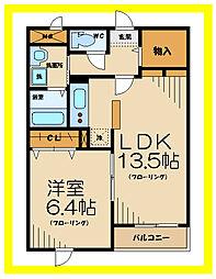 京王線 多磨霊園駅 徒歩15分の賃貸マンション 1階1LDKの間取り