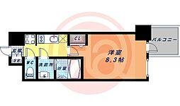 Osaka Metro谷町線 谷町九丁目駅 徒歩1分の賃貸マンション 14階1Kの間取り