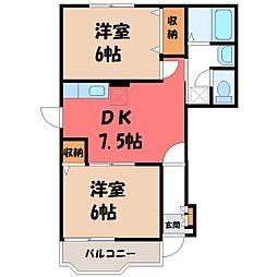 栃木県小山市城東5丁目の賃貸アパートの間取り