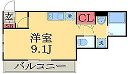 京成本線 京成津田沼駅 徒歩12分の賃貸アパート 3階ワンルームの間取り