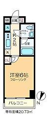GENOVIA綾瀬skygarden 3階1Kの間取り