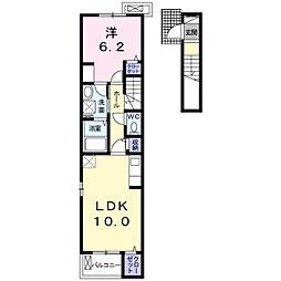 愛知環状鉄道 北野桝塚駅 徒歩7分の賃貸アパート 2階1LDKの間取り