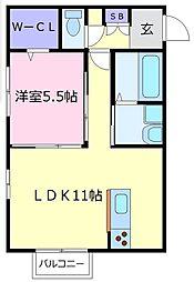大阪府羽曳野市島泉9の賃貸アパートの間取り