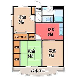 栃木県栃木市片柳町5丁目の賃貸マンションの間取り