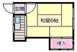 阪急千里線 関大前駅 徒歩6分の賃貸アパート 2階ワンルームの間取り