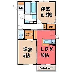 栃木県小山市大字立木の賃貸アパートの間取り