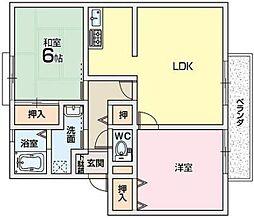 カルチェ東香里2[1階]の間取り