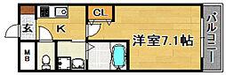 阪急京都本線 上新庄駅 徒歩4分の賃貸マンション 1階1Kの間取り