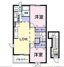 JR高崎線 鴻巣駅 バス11分 丸貫下車 徒歩10分の賃貸アパート 2階2LDKの間取り