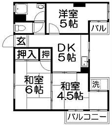 デベロップハイツ[4階]の間取り