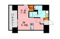 JR鹿児島本線 博多駅 徒歩21分の賃貸マンション 14階1DKの間取り