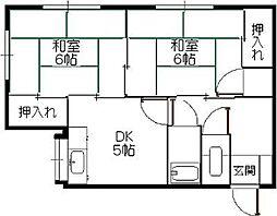 筥松野田荘[201号室]の間取り