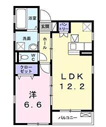JR横須賀線 新川崎駅 徒歩24分の賃貸アパート 1階1LDKの間取り