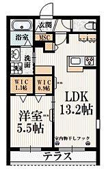 京王線 布田駅 徒歩5分の賃貸マンション 1階1LDKの間取り