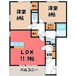 栃木県栃木市都賀町合戦場の賃貸アパートの間取り