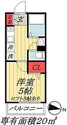東京メトロ東西線 原木中山駅 徒歩5分の賃貸アパート 3階1Kの間取り