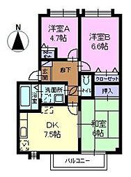 フォブール原田 C棟[2階]の間取り